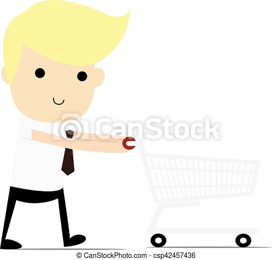 Shopping for a Home A man walking with shopping cart. - csp42457436