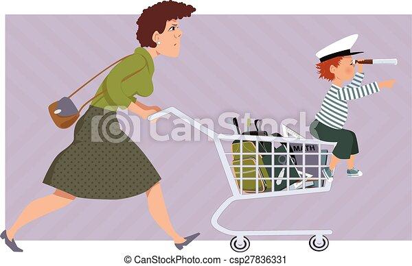 Shopping for school supplies - csp27836331
