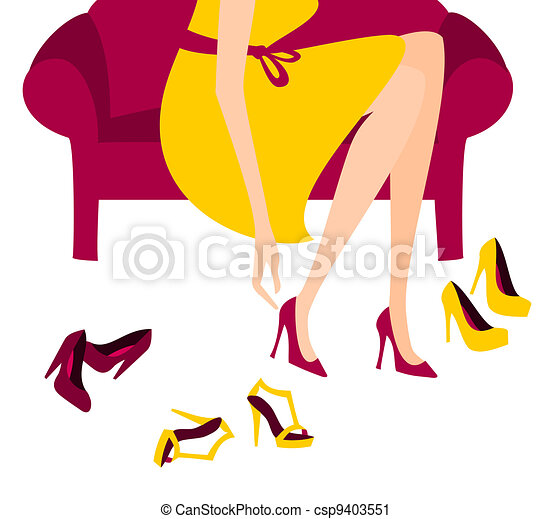 shopping for shoes illustration of a woman trying on vector clip rh canstockphoto com Shopper Clip Art Holiday Shoppers Clip Art