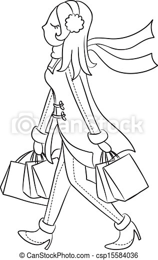 girls going shopping coloring pages | Shopping girl black and white.