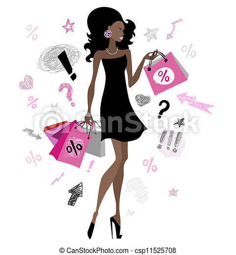 Shopping girl. Woman with shopping bags. vector... vector ...