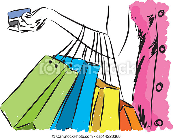 shopping girl with credit card illustration clip art vector search rh canstockphoto com shipping clip art free shopping clip art images
