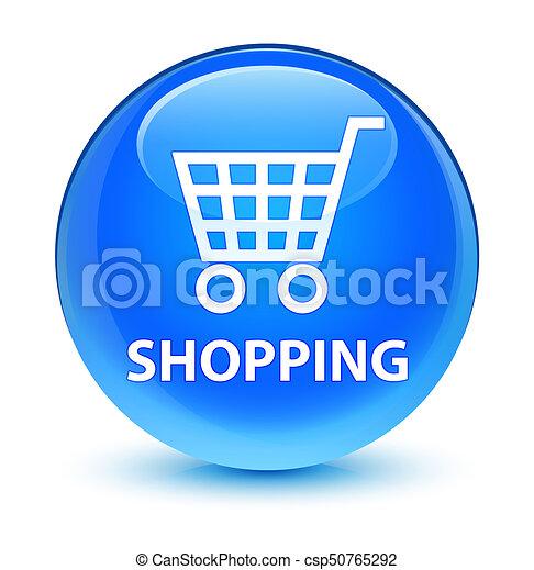 Shopping glassy cyan blue round button - csp50765292