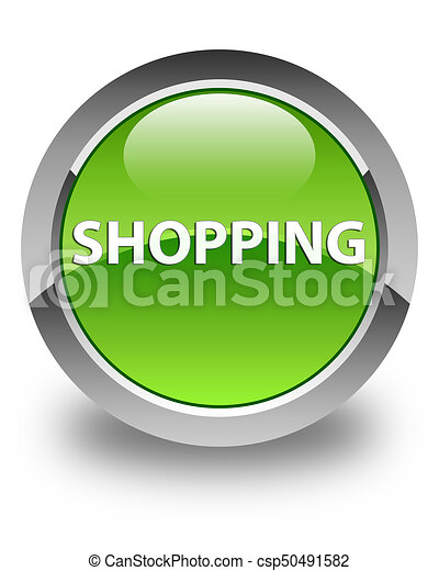 Shopping glossy green round button - csp50491582