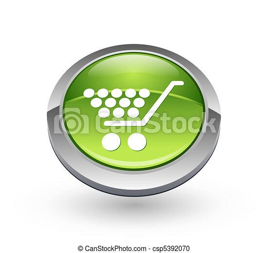 Shopping - Green sphere button - csp5392070