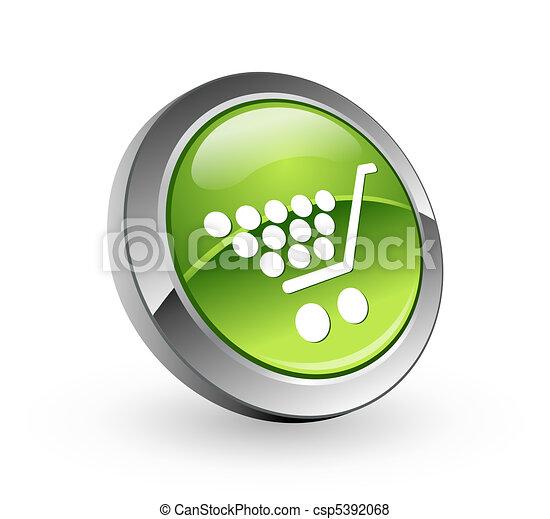 Shopping - Green sphere button - csp5392068