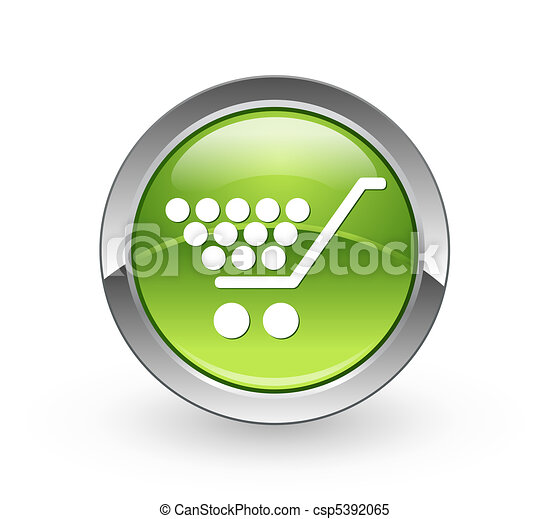 Shopping - Green sphere button - csp5392065