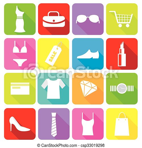 shopping icons - csp33019298