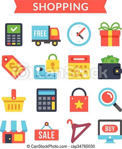 Shopping icons set ecommerce shopping icons set shopping online shopping icons set ecommerce csp34765030 altavistaventures Images