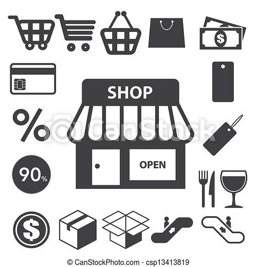 Shopping icons set. Illustration - csp13413819