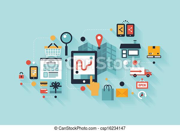 shopping, illustrazione, mobile, concetto - csp16234147