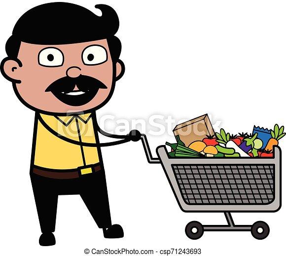Shopping - Indian Cartoon Man Father Vector Illustration - csp71243693