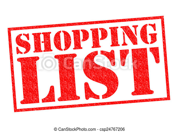 shopping list red rubber stamp over a white background