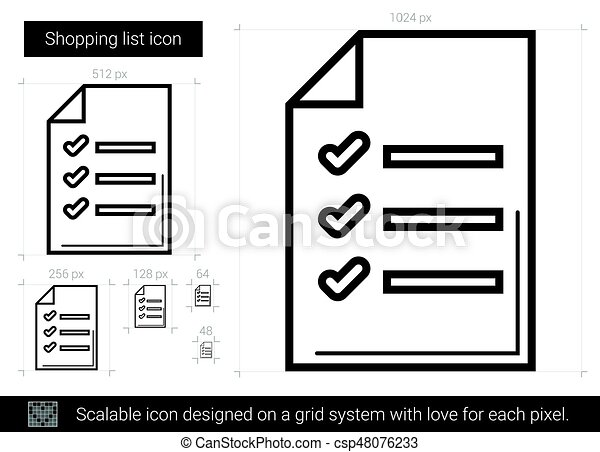 shopping list line icon csp48076233