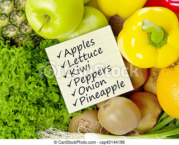 Shopping list on fruits and vegetable - csp40144186