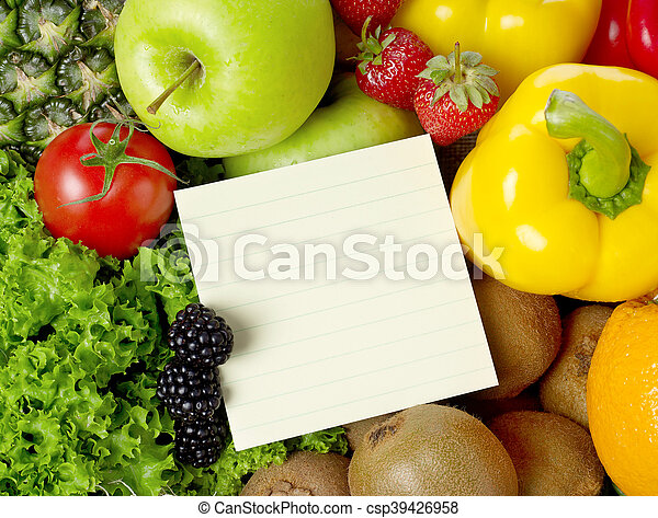 Shopping list on fruits and vegetable - csp39426958