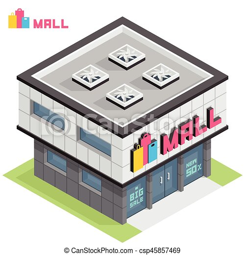 Shopping Mall Building Vector Isometric