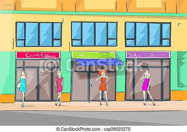 Shopping Mall Building Exterior Fashion Woman Shop Vector