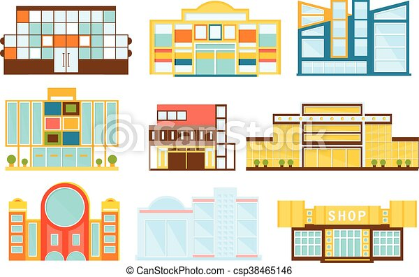 Shopping Mall Buildings Exterior Design Set   Csp38465146