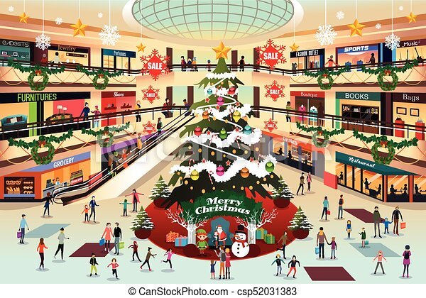 Shopping Mall During Christmas Illustration
