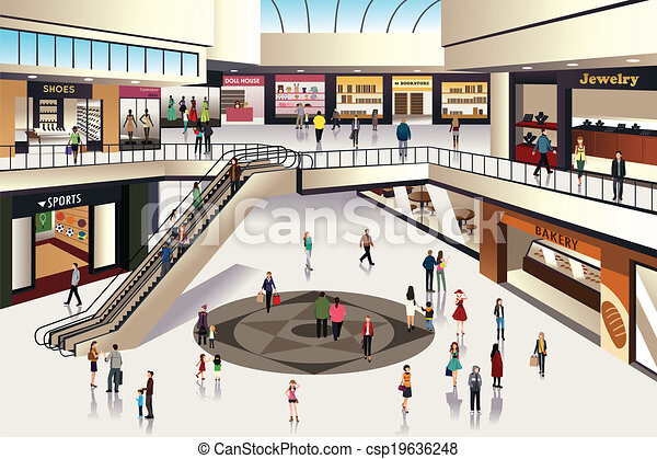 Shopping Mall A Vector Illustration Of Scene Inside