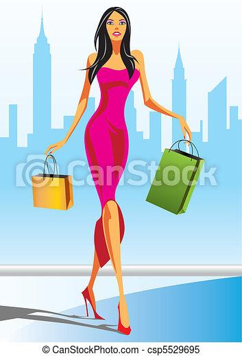 shopping, moda, meninas - csp5529695