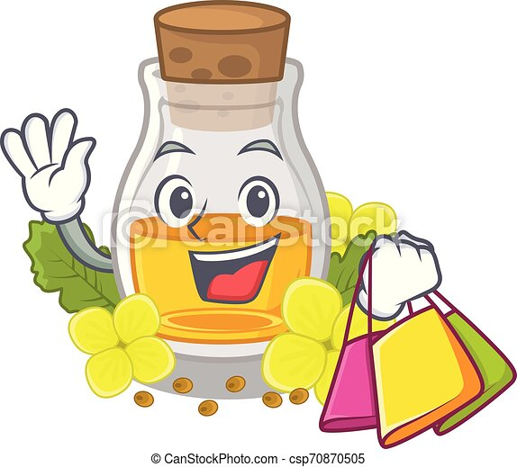 Shopping mustard oil isolated with the character - csp70870505
