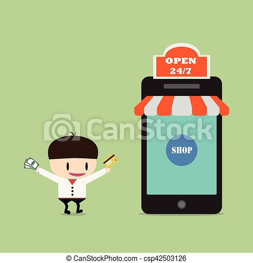 Shopping online, Online Store on smart phone. Business and Digital Marketing Concept - csp42503126