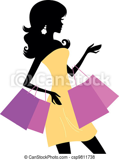 shopping retro girl isolated on white retro woman vector rh canstockphoto com women shopping clip art free african american woman shopping clipart