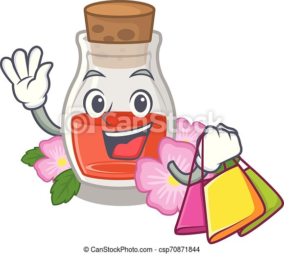 Shopping rosehip seed oil isolated in character - csp70871844