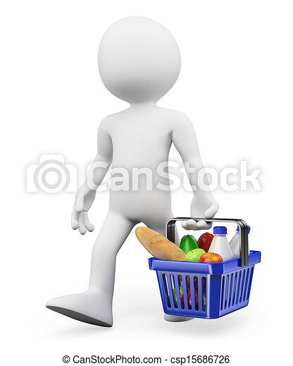 shopping, sano, persone., cibo, bianco, 3d - csp15686726