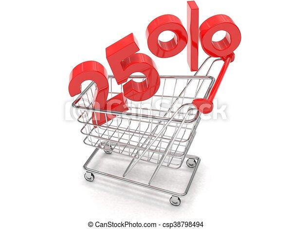 shopping, scontare, 25%, rendering., carrello, fondo., bianco, 3d - csp38798494