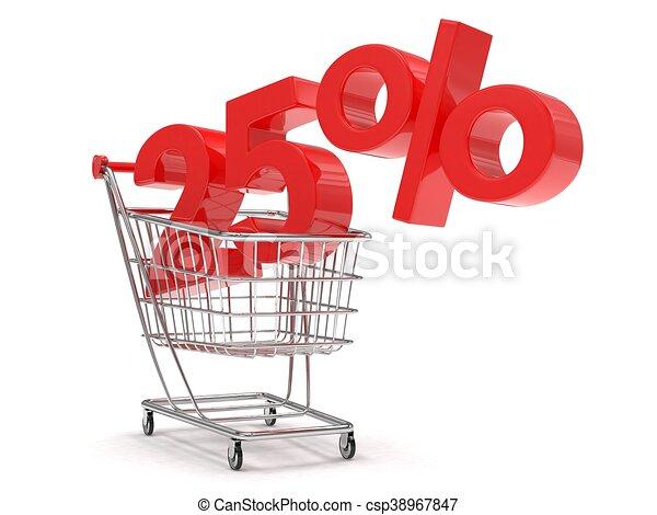 shopping, scontare, 25%, rendering., carrello, fondo., bianco, 3d - csp38967847