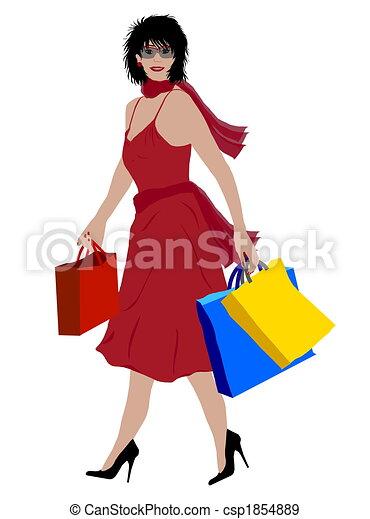 shopping, signora, colorato - csp1854889