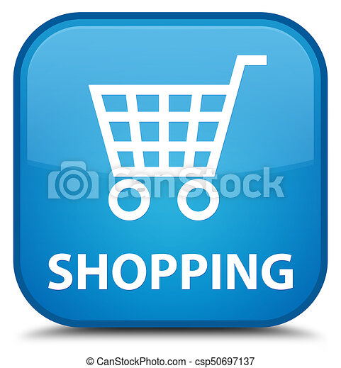 Shopping special cyan blue square button - csp50697137