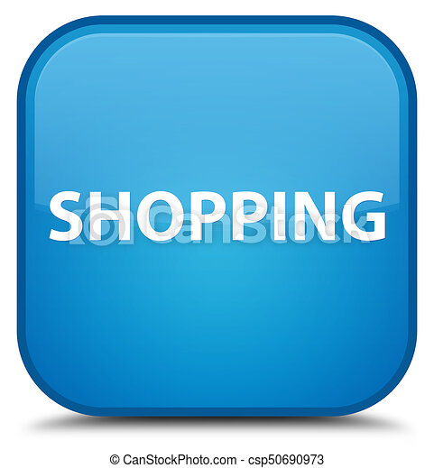 Shopping special cyan blue square button - csp50690973