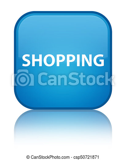 Shopping special cyan blue square button - csp50721871