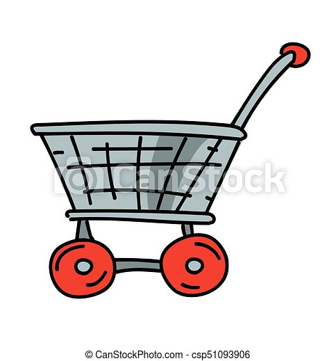 shopping trolley cartoon hand drawn image original colorful rh canstockphoto com baby trolley clipart clipart trolley car
