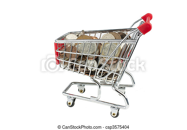 shopping trolley full of money - csp3575404