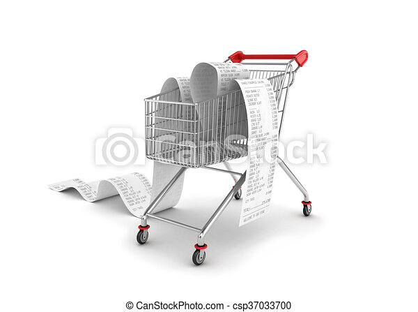 Shopping Trolley With long Receipts Over White Background - csp37033700