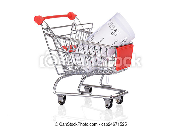Shopping Trolley With Rolled Receipts - csp24671525