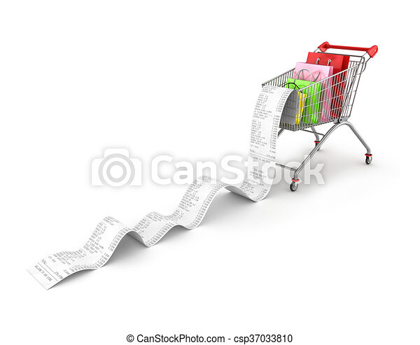 Shopping Trolley With shopping bags and long Receipts Over White Background - csp37033810