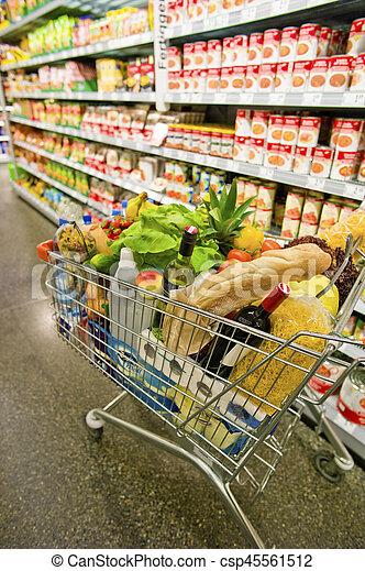 shopping vozík, supermarket - csp45561512