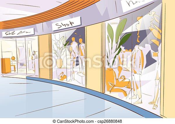 Shopping Window Modern Luxury Shop in Mall Center - csp26880848