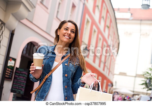shopping with coffee - csp37807995