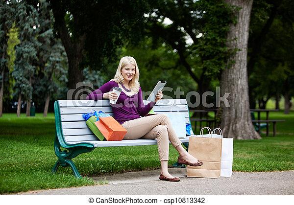 Shopping Woman Using Digital Tablet - csp10813342