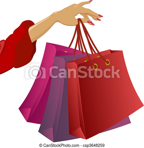Dessin Shopping shopping: woman\'s hand with bags. vector illustration on white