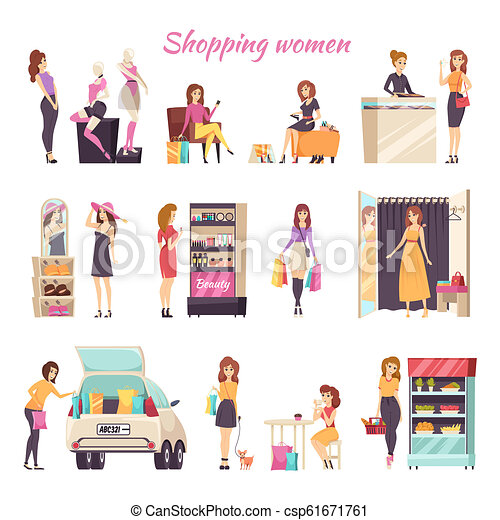 58b49dbd2 Shopping women in different stores color card. Shopping women in ...