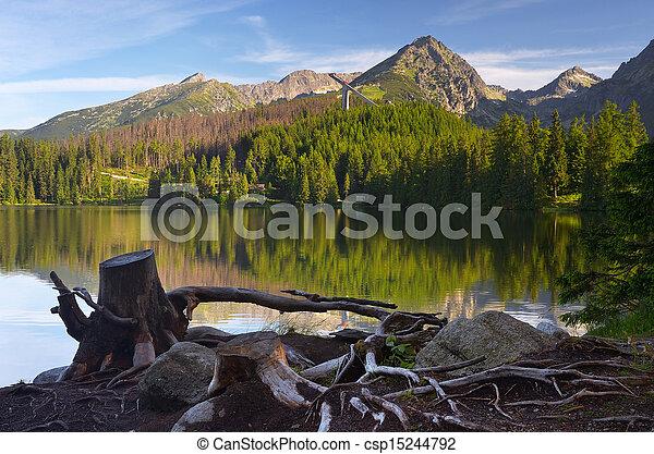 Shore of a mountain lake - csp15244792