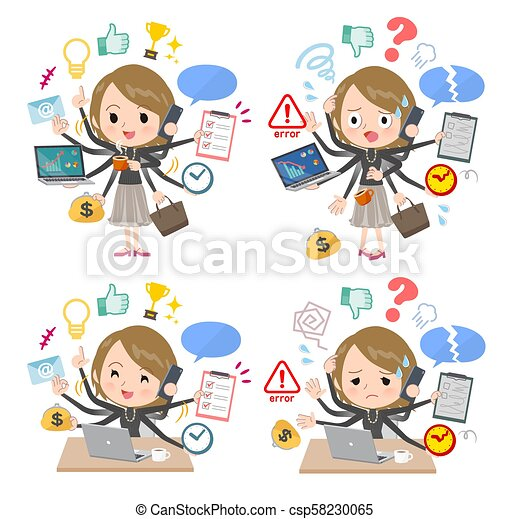 Short hair black high necked women mulch task Office - csp58230065